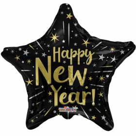 18 inch Happy New Year Black Star Shape Foil Balloon