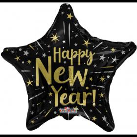 18 inch Happy New Year Black Star Shape Foil Balloon