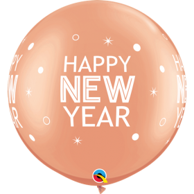 Qualatex Happy New Year Sparkles & Dots Rose Gold 30 inch Latex Balloons - 2 pack