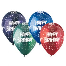 12 inch CTI Festive Happy Birthday Latex Balloons Crystal Assorted - 50 count