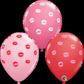 11 inch Qualatex Kissey Lips Assortment Latex Balloons - 50 count