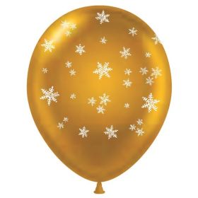 11 inch Snowflakes All-Around Gold Latex Balloons - 50 count