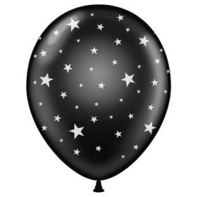 11 inch Stars All-Around Black Latex Balloons - 50 count
