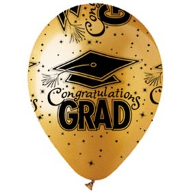 12 inch CTI Congratulations GRAD Metallic Gold Latex Balloons - 50 count