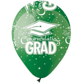 12 inch CTI Congratulations GRAD Green Latex Balloons - 50 count