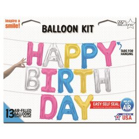 16 inch Multi Color HAPPY BIRTHDAY Letter Balloon Kit - AIR FILL