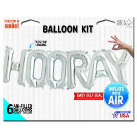 16 inch Silver HOORAY Letter Balloon Kit - AIR FILL