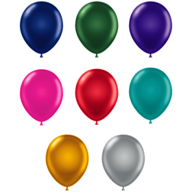11 inch Latex Balloons - Metallic Assorted - 100 count