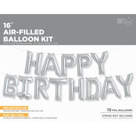 16 inch Silver HAPPY BIRTHDAY Letter Balloon Kit - AIR FILL