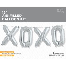 16 inch Silver XOXO Letter Balloon Kit - AIR FILL