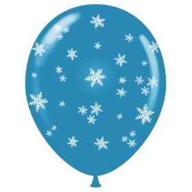 11 inch Snowflakes All-Around Standard Blue Latex Balloons - 50 count