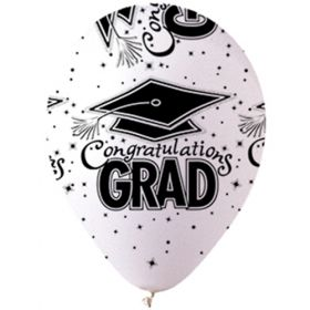 12 inch CTI Congratulations GRAD White Latex Balloons - 50 count