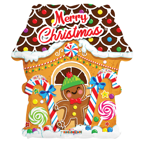 Christmas Gingerbread House.18 Inch Merry Christmas Gingerbread House Shape Foil Balloon