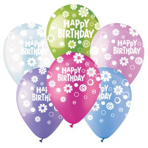 12 Inch CTI Happy Birthday Dots And Daisies Latex Balloons Pastel Assorted