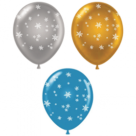 Christmas and Winter Latex Balloons - Snowflakes