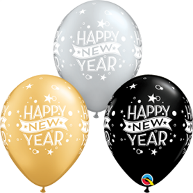 Happy New Year Latex Balloons - 11, 12 and 36 Inch