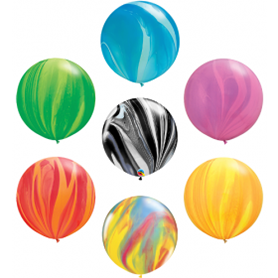 Qualatex Super Agate Latex Balloons - 11 and 30 Inch